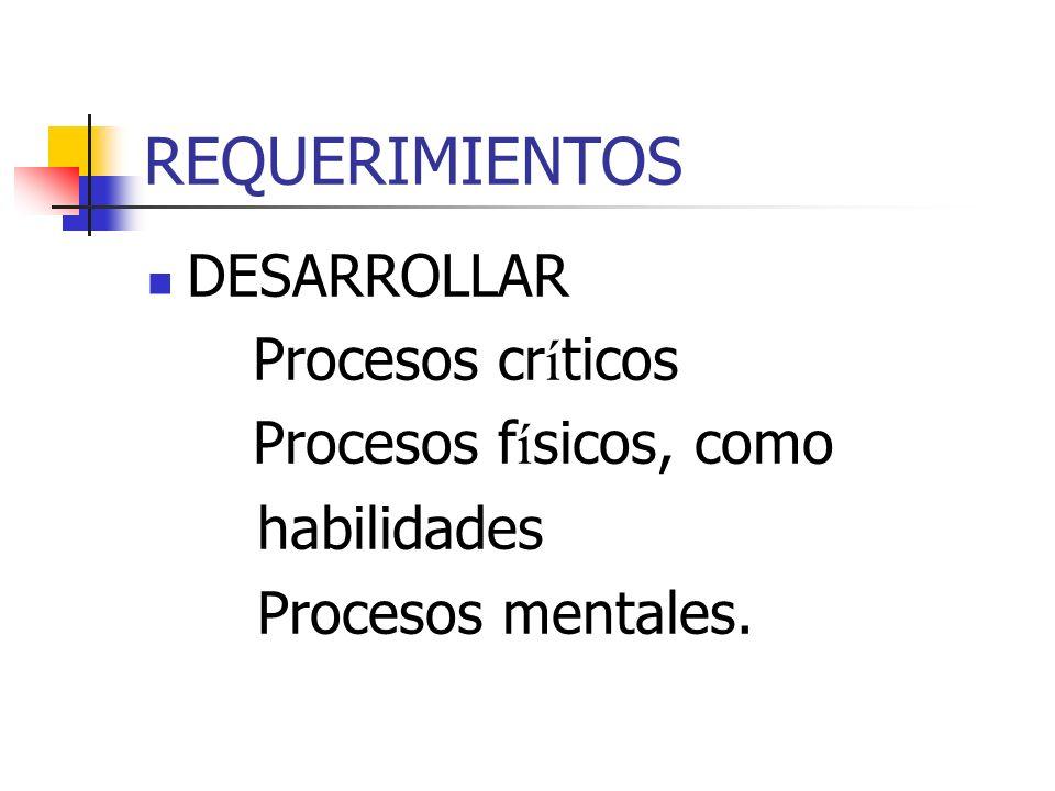 REQUERIMIENTOS DESARROLLAR Procesos críticos Procesos físicos, como