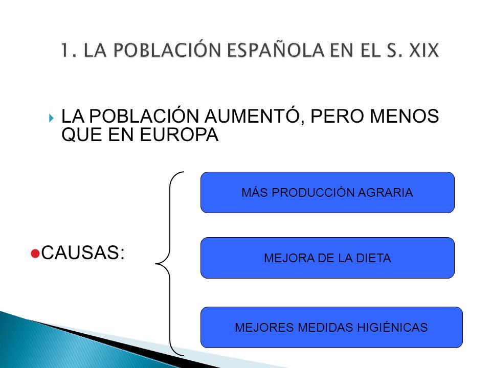1. LA POBLACIÓN ESPAÑOLA EN EL S. XIX