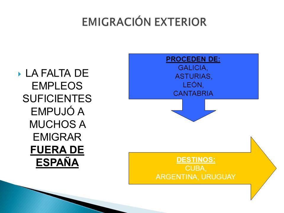 EMIGRACIÓN EXTERIOR PROCEDEN DE: GALICIA, ASTURIAS, LEÓN, CANTABRIA.