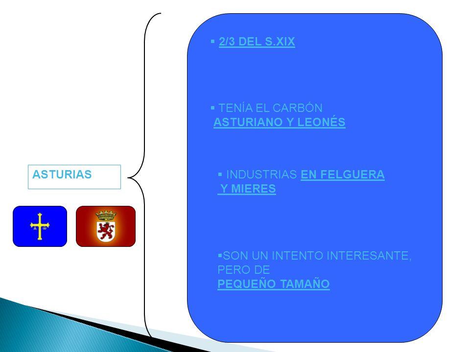 2/3 DEL S.XIX TENÍA EL CARBÓN. ASTURIANO Y LEONÉS. ASTURIAS. INDUSTRIAS EN FELGUERA. Y MIERES. SON UN INTENTO INTERESANTE, PERO DE.