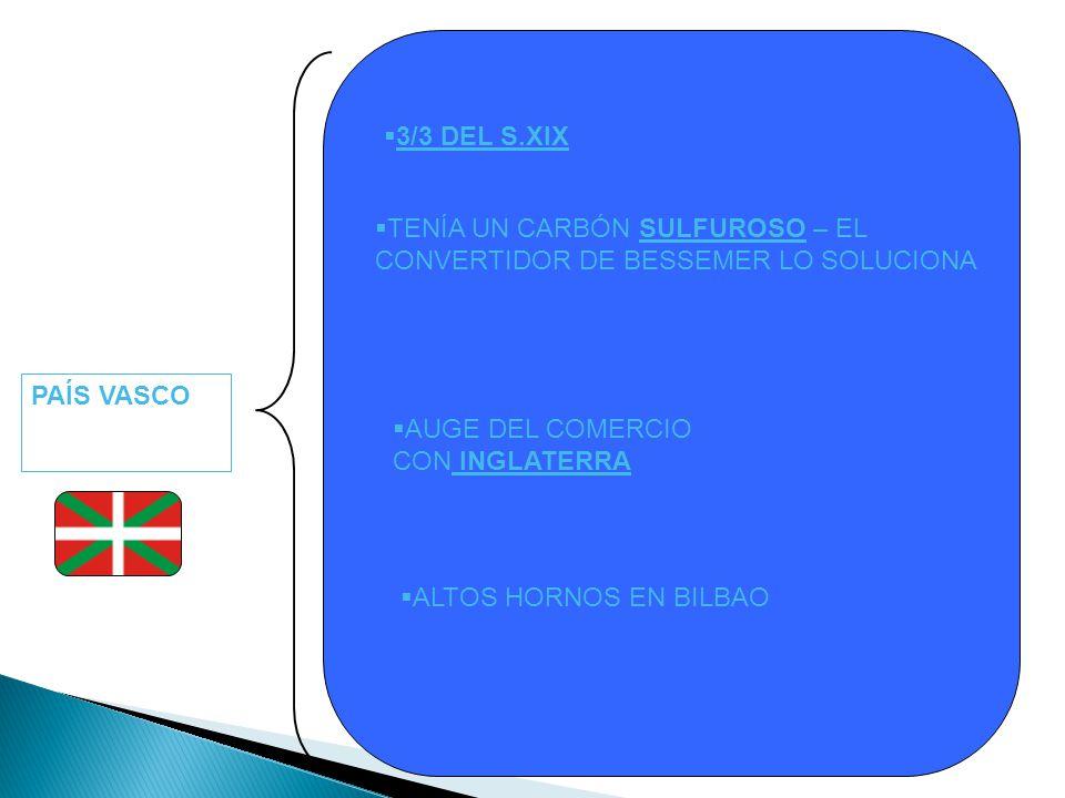 3/3 DEL S.XIX TENÍA UN CARBÓN SULFUROSO – EL CONVERTIDOR DE BESSEMER LO SOLUCIONA. PAÍS VASCO. AUGE DEL COMERCIO.