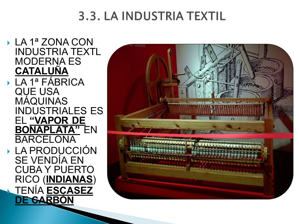 3.3. LA INDUSTRIA TEXTIL LA 1ª ZONA CON INDUSTRIA TEXTL MODERNA ES CATALUÑA.