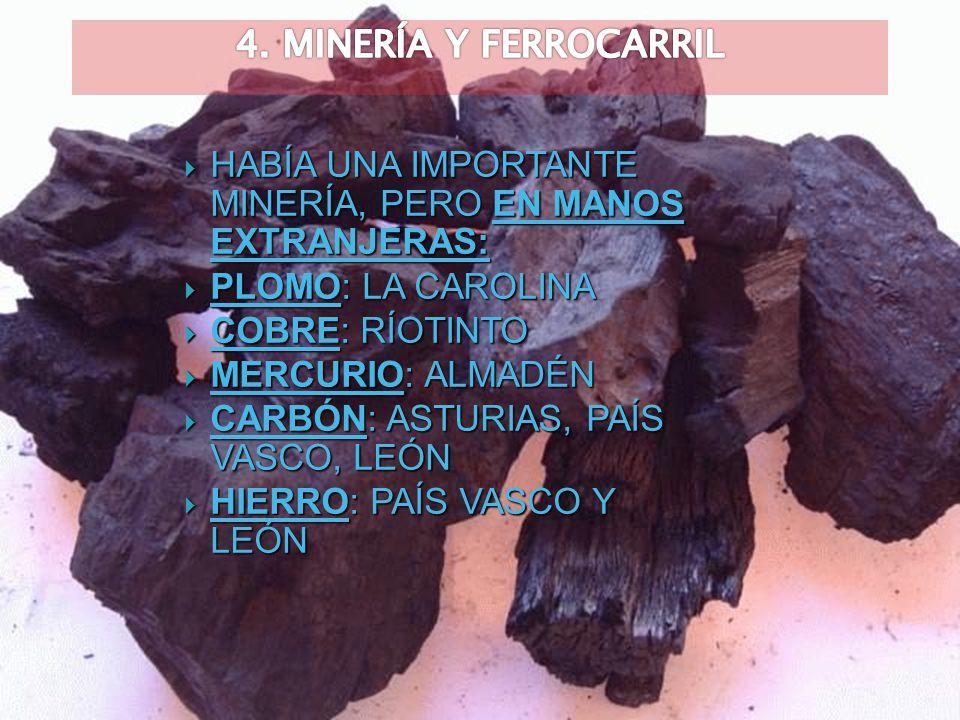 4. MINERÍA Y FERROCARRIL HABÍA UNA IMPORTANTE MINERÍA, PERO EN MANOS EXTRANJERAS: PLOMO: LA CAROLINA.