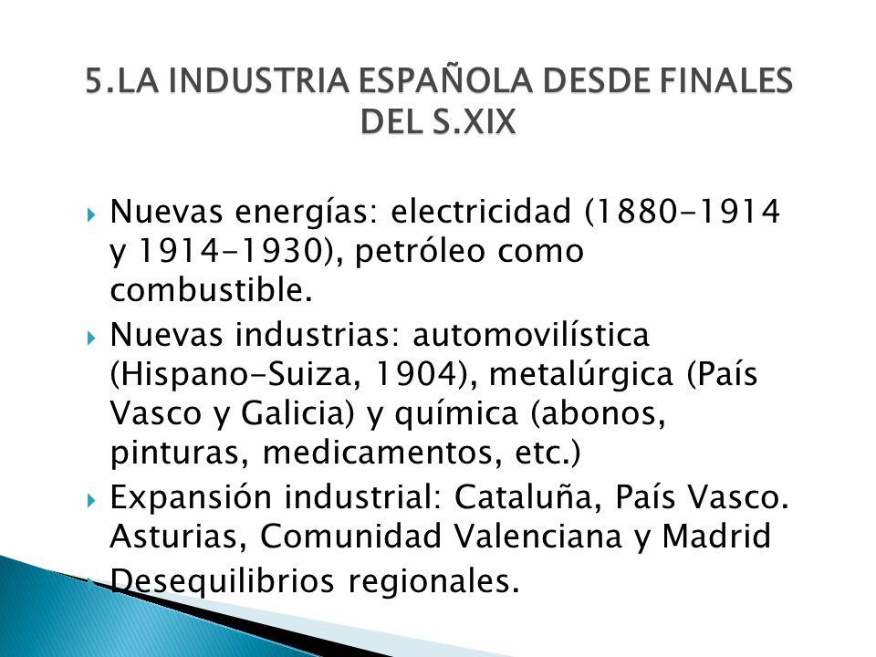 5.LA INDUSTRIA ESPAÑOLA DESDE FINALES DEL S.XIX