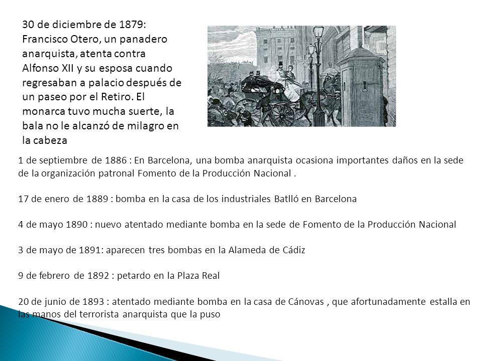 30 de diciembre de 1879: Francisco Otero, un panadero anarquista, atenta contra Alfonso XII y su esposa cuando regresaban a palacio después de un paseo por el Retiro. El monarca tuvo mucha suerte, la bala no le alcanzó de milagro en la cabeza