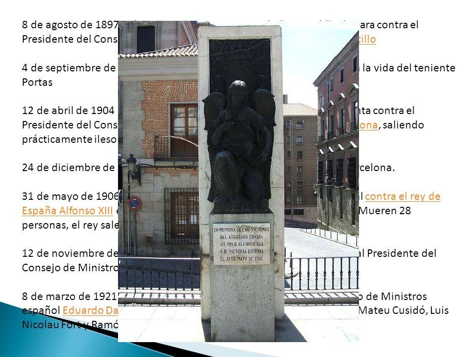 8 de agosto de 1897 : El terrorista a anarquista Michele Angiolillo dispara contra el Presidente del Consejo de Ministros español Antonio Cánovas del Castillo