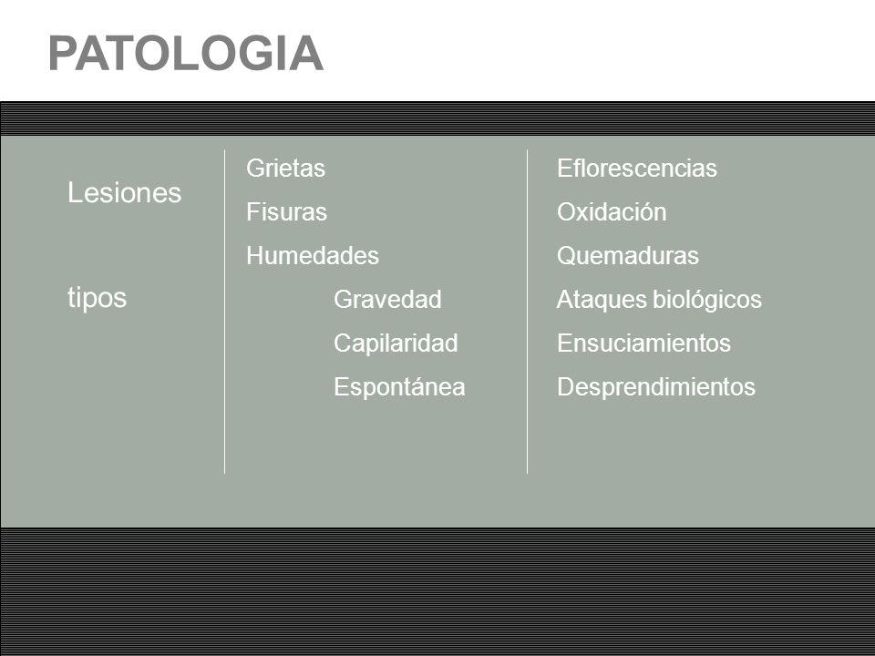 PATOLOGIA Lesiones tipos Grietas Fisuras Humedades Gravedad