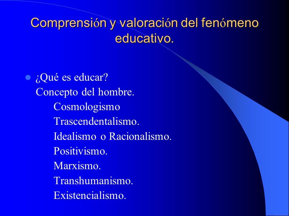 Comprensión y valoración del fenómeno educativo.