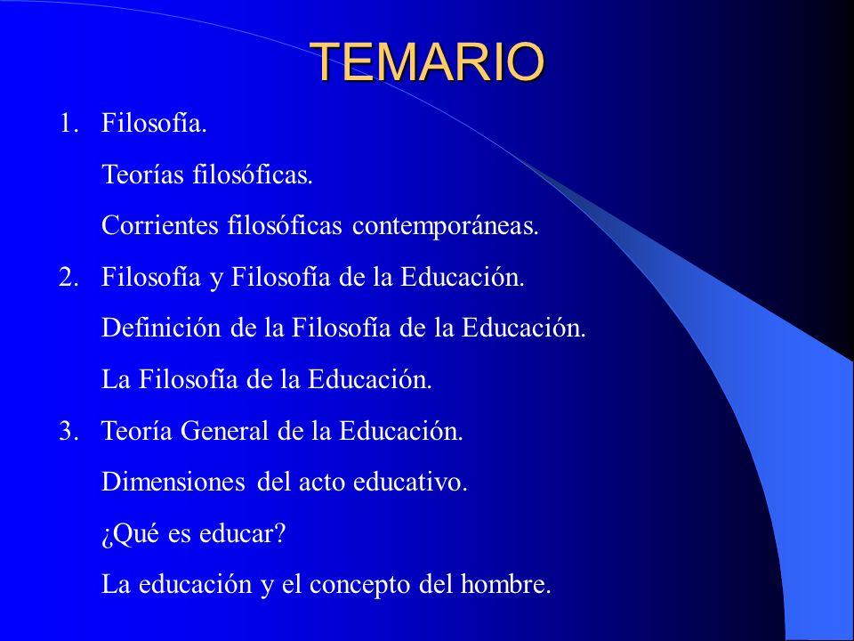 TEMARIO Filosofía. Teorías filosóficas.
