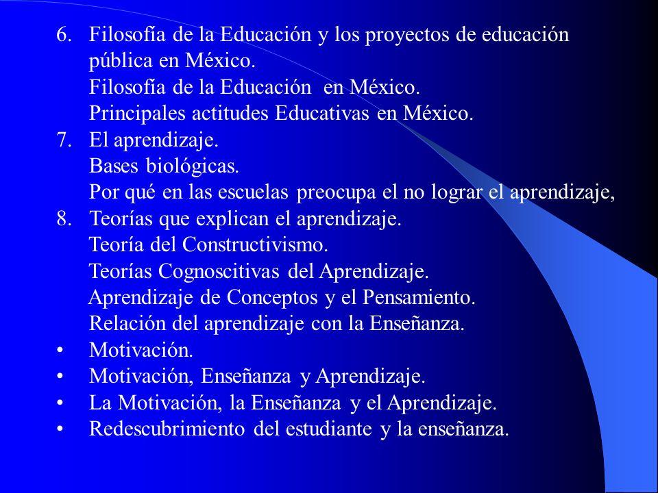 Filosofía de la Educación y los proyectos de educación pública en México.
