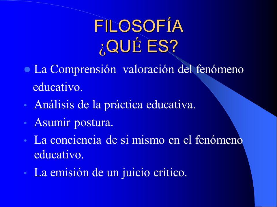 FILOSOFÍA ¿QUÉ ES La Comprensión valoración del fenómeno educativo.