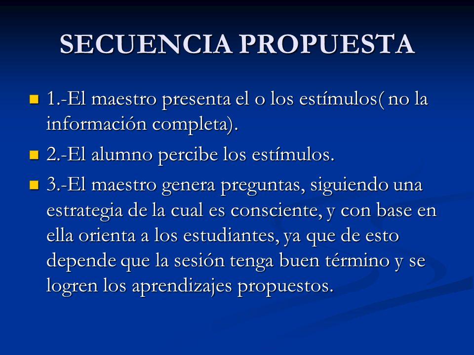 SECUENCIA PROPUESTA 1.-El maestro presenta el o los estímulos( no la información completa). 2.-El alumno percibe los estímulos.