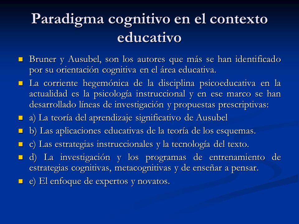 Paradigma cognitivo en el contexto educativo