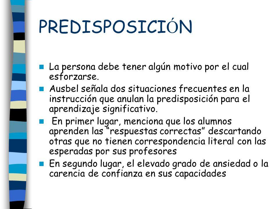 PREDISPOSICIÓN La persona debe tener algún motivo por el cual esforzarse.