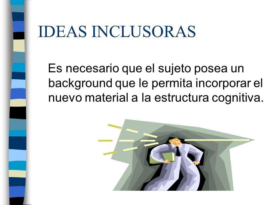 IDEAS INCLUSORAS Es necesario que el sujeto posea un background que le permita incorporar el nuevo material a la estructura cognitiva.