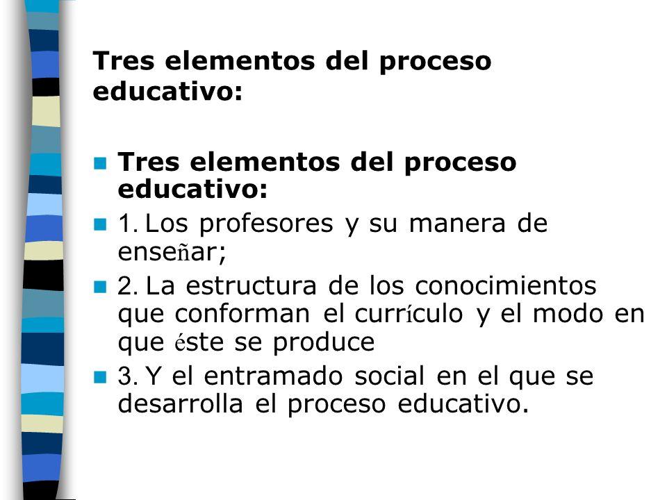 Tres elementos del proceso educativo: