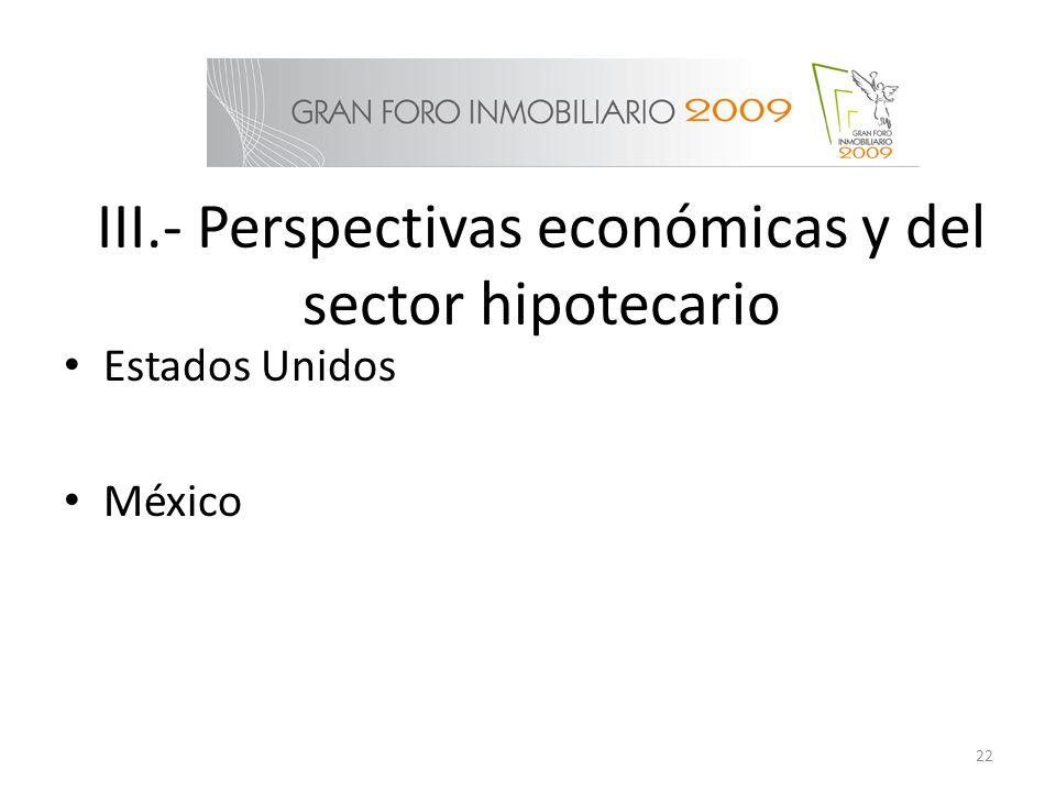 III.- Perspectivas económicas y del sector hipotecario
