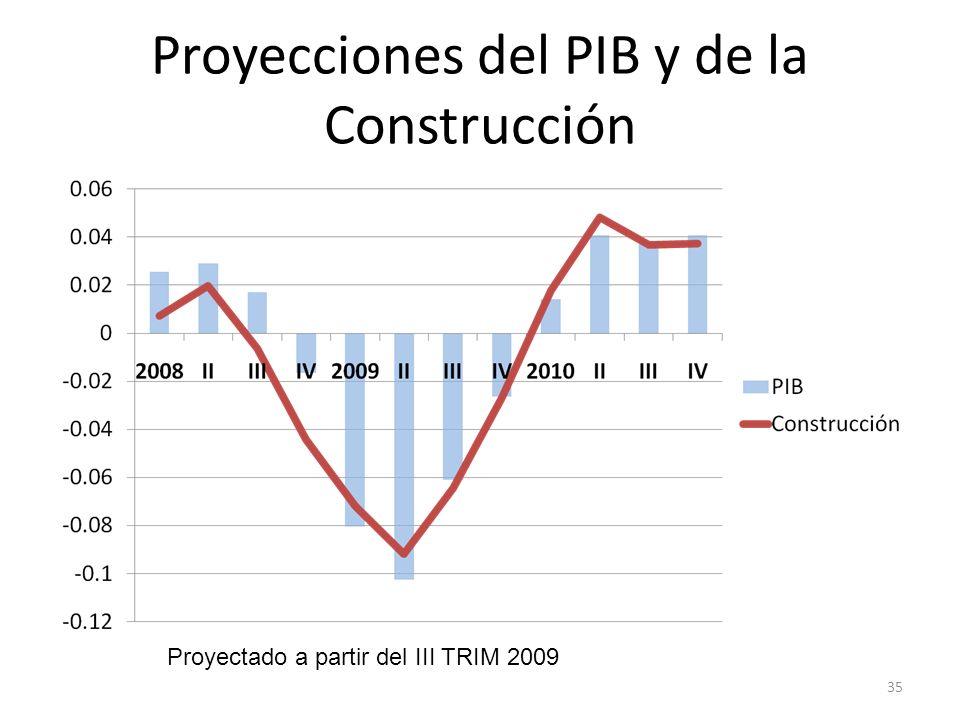 Proyecciones del PIB y de la Construcción