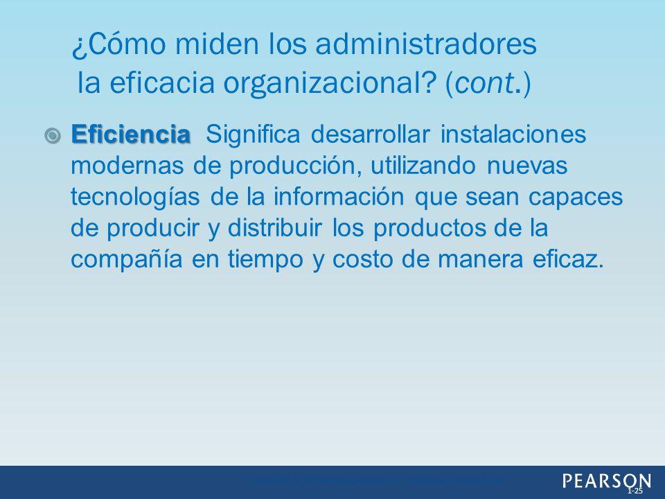 ¿Cómo miden los administradores la eficacia organizacional (cont.)