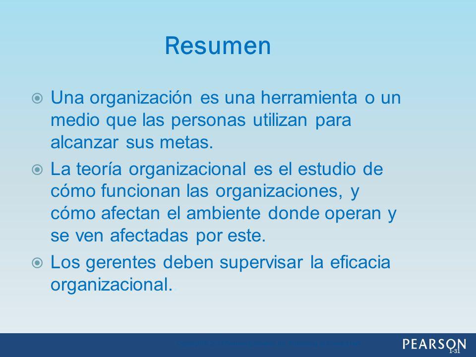 ResumenUna organización es una herramienta o un medio que las personas utilizan para alcanzar sus metas.