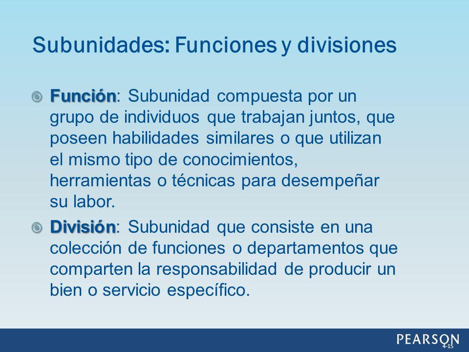 Subunidades: Funciones y divisiones