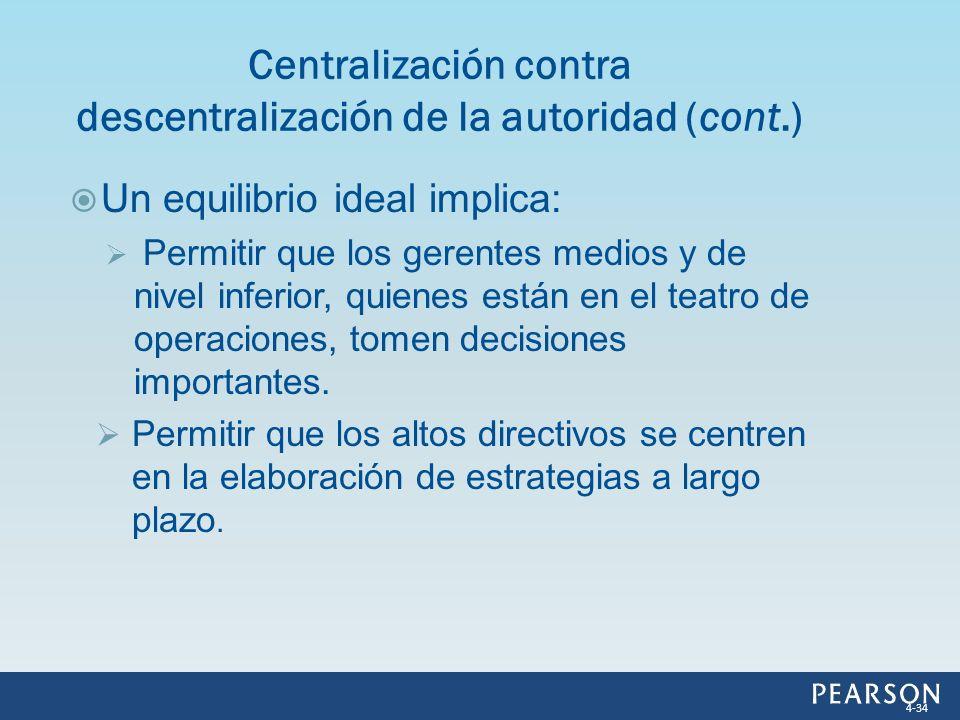 Centralización contra descentralización de la autoridad (cont.)