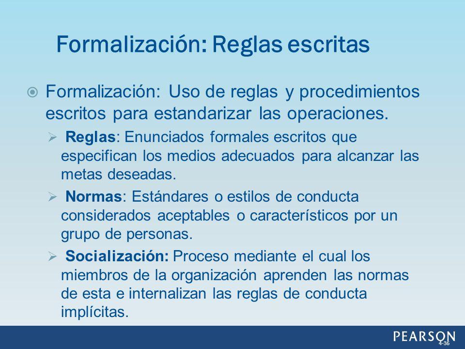 Formalización: Reglas escritas