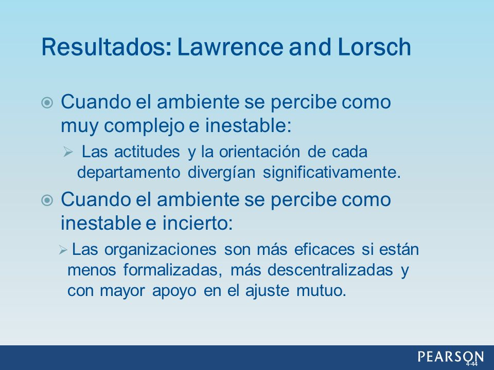 Resultados: Lawrence and Lorsch