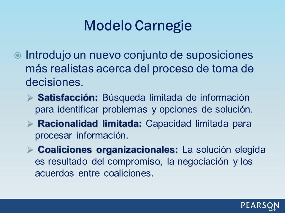 Modelo Carnegie Introdujo un nuevo conjunto de suposiciones más realistas acerca del proceso de toma de decisiones.