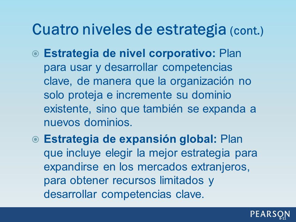 Cuatro niveles de estrategia (cont.)