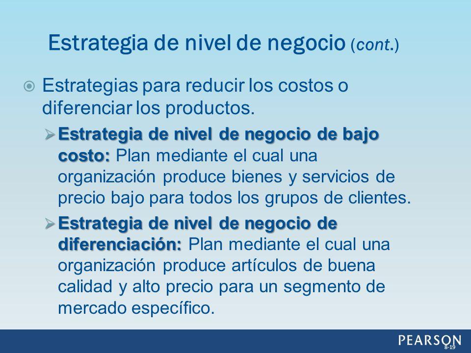 Estrategia de nivel de negocio (cont.)