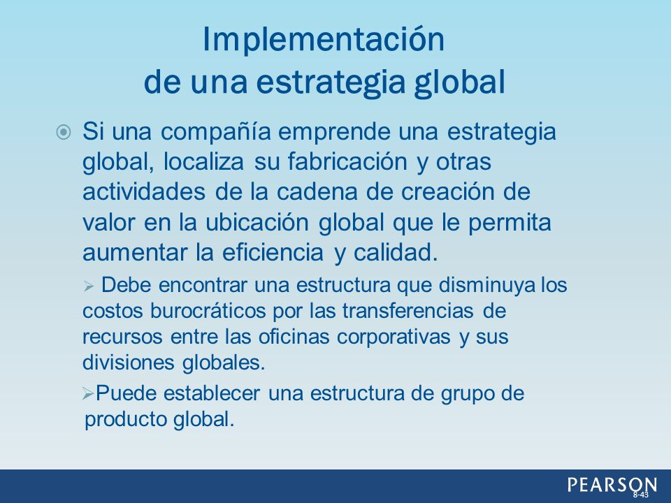 Implementación de una estrategia global