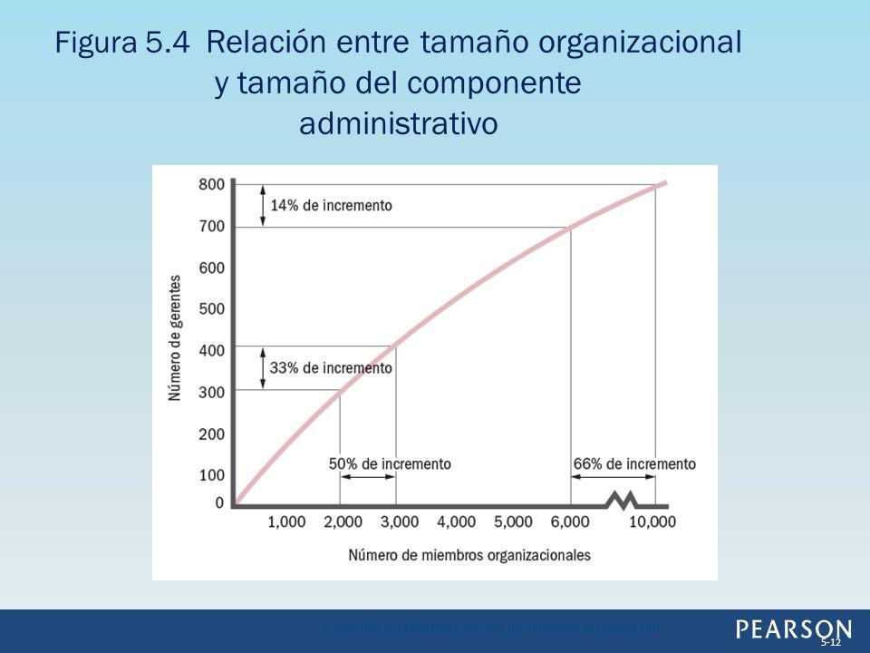 Figura 5.4 Relación entre tamaño organizacional y tamaño del componente administrativo