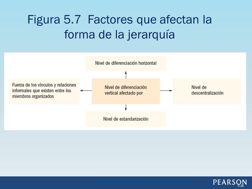 Figura 5.7 Factores que afectan la forma de la jerarquía