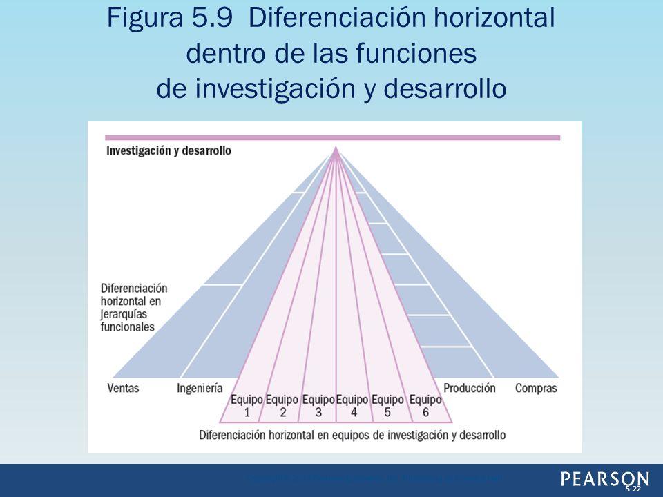 Figura 5.9 Diferenciación horizontal dentro de las funciones de investigación y desarrollo