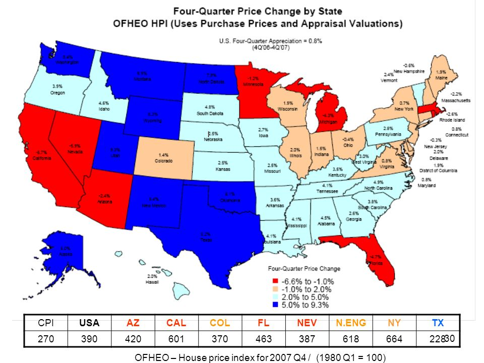 OFHEO – House price index for 2007 Q4 / (1980 Q1 = 100)