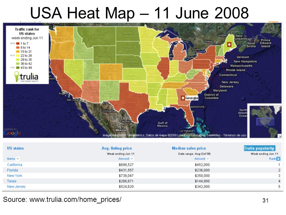 USA Heat Map – 11 June 2008 Source: www.trulia.com/home_prices/