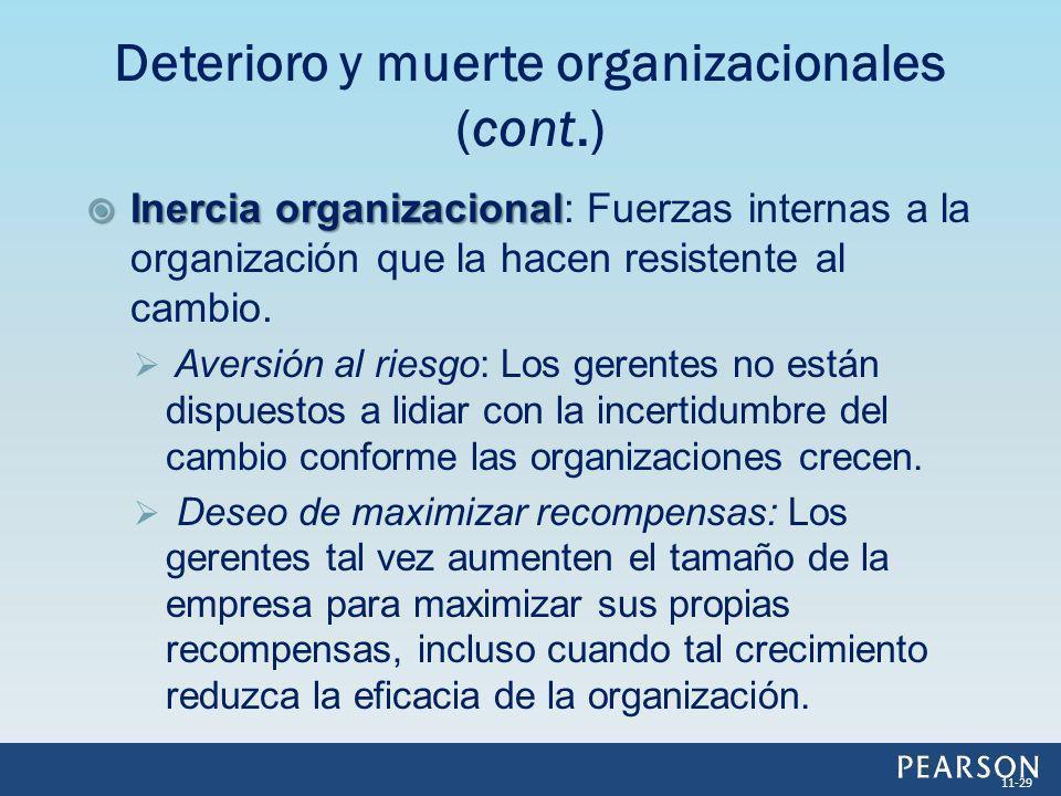 Deterioro y muerte organizacionales (cont.)