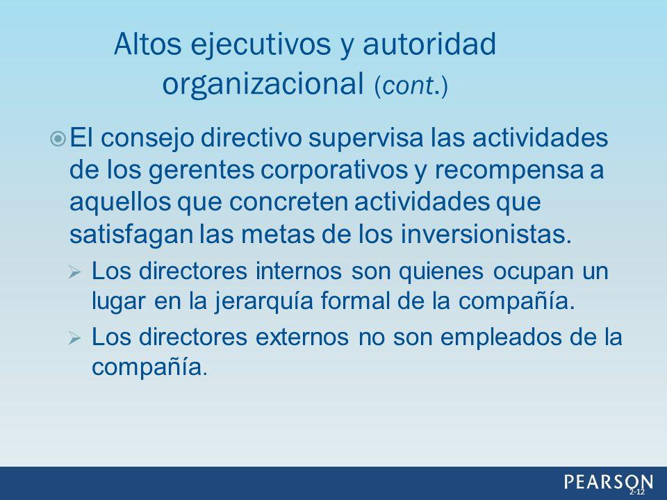 Altos ejecutivos y autoridad organizacional (cont.)