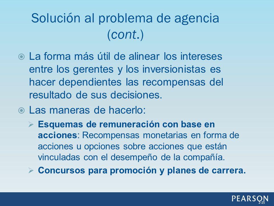 Solución al problema de agencia (cont.)