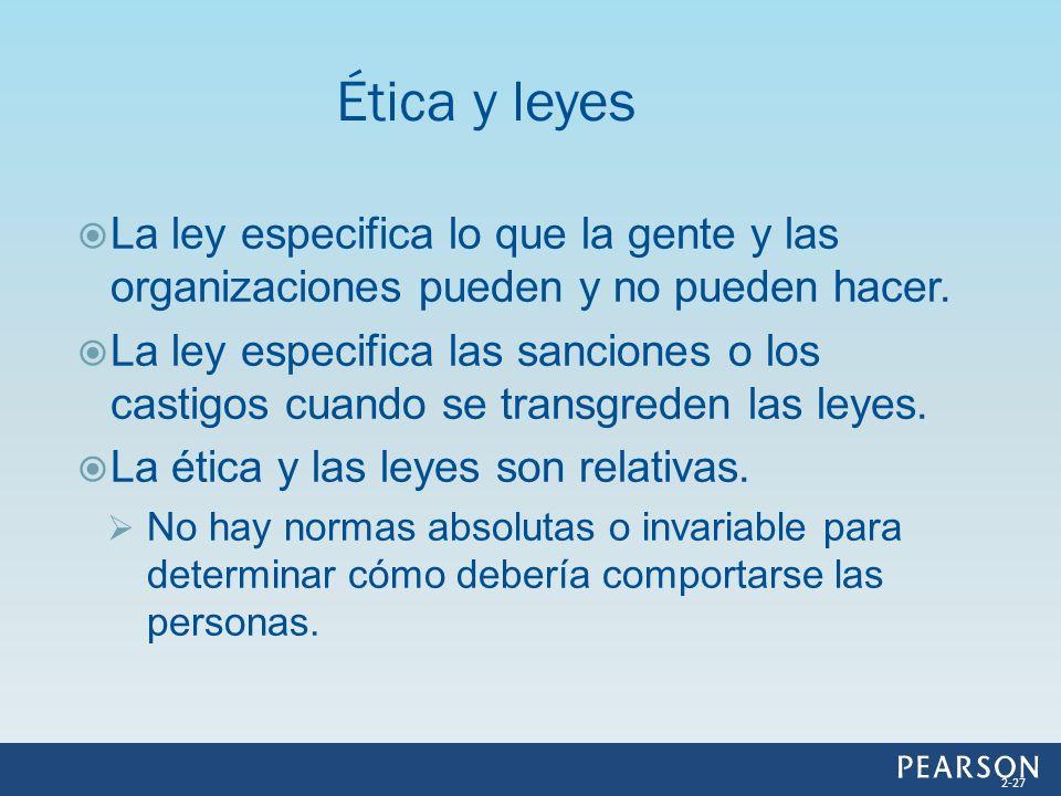 Ética y leyes La ley especifica lo que la gente y las organizaciones pueden y no pueden hacer.