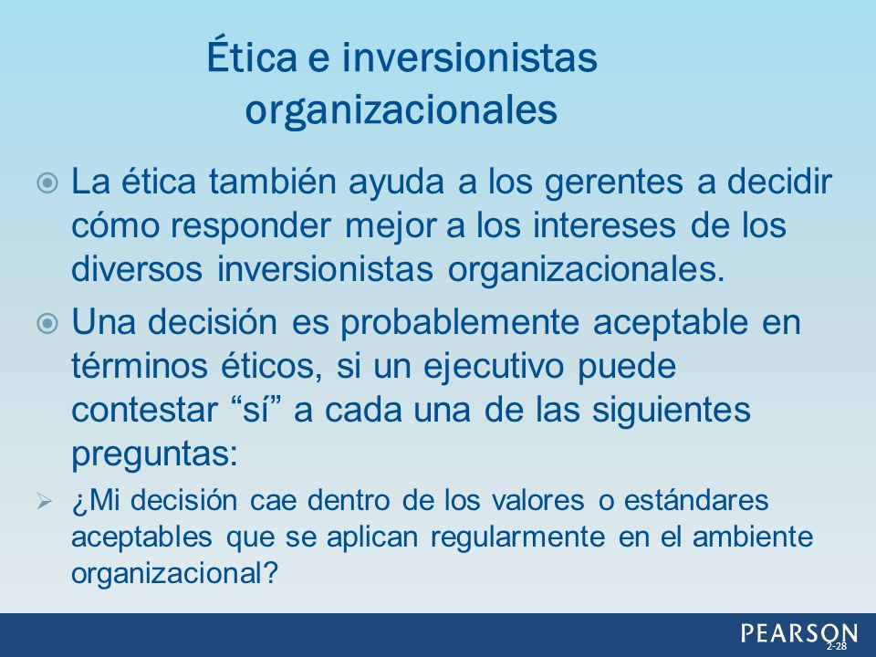 Ética e inversionistas organizacionales