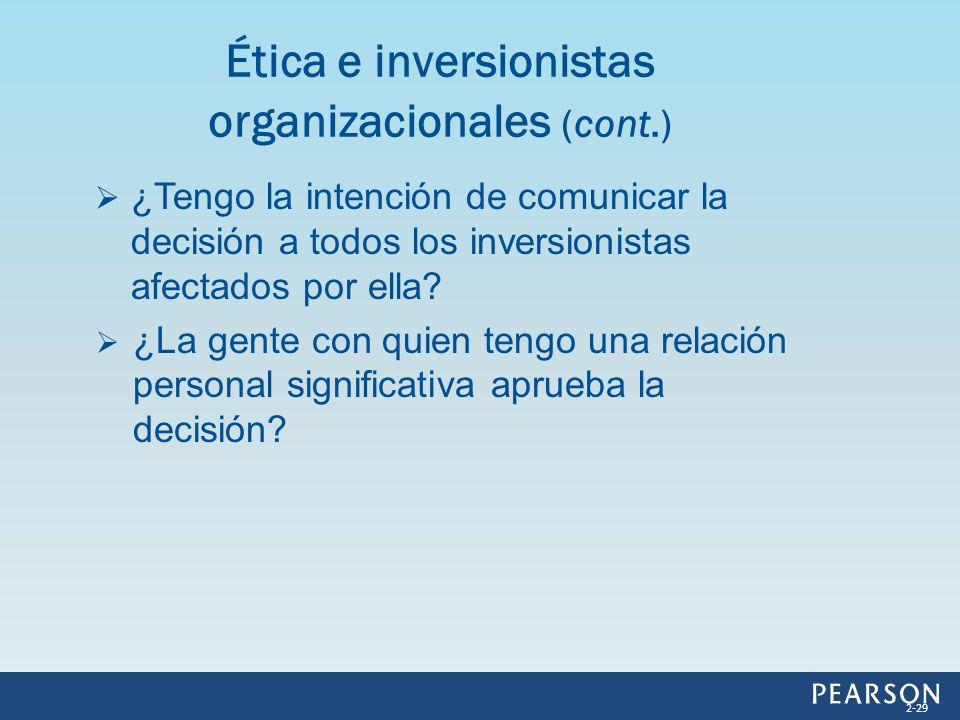 Ética e inversionistas organizacionales (cont.)