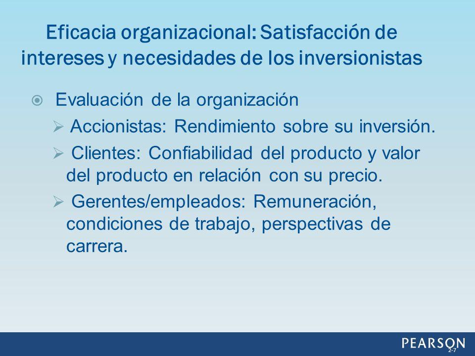 Eficacia organizacional: Satisfacción de intereses y necesidades de los inversionistas