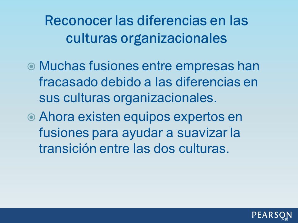 Reconocer las diferencias en las culturas organizacionales