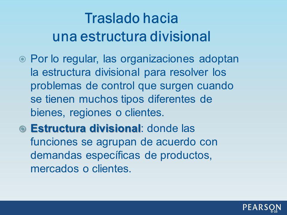 Traslado hacia una estructura divisional