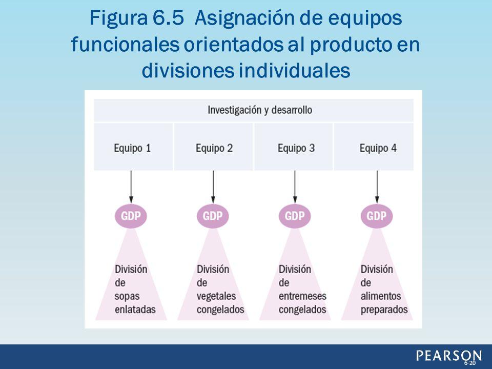 Figura 6.5 Asignación de equipos funcionales orientados al producto en divisiones individuales