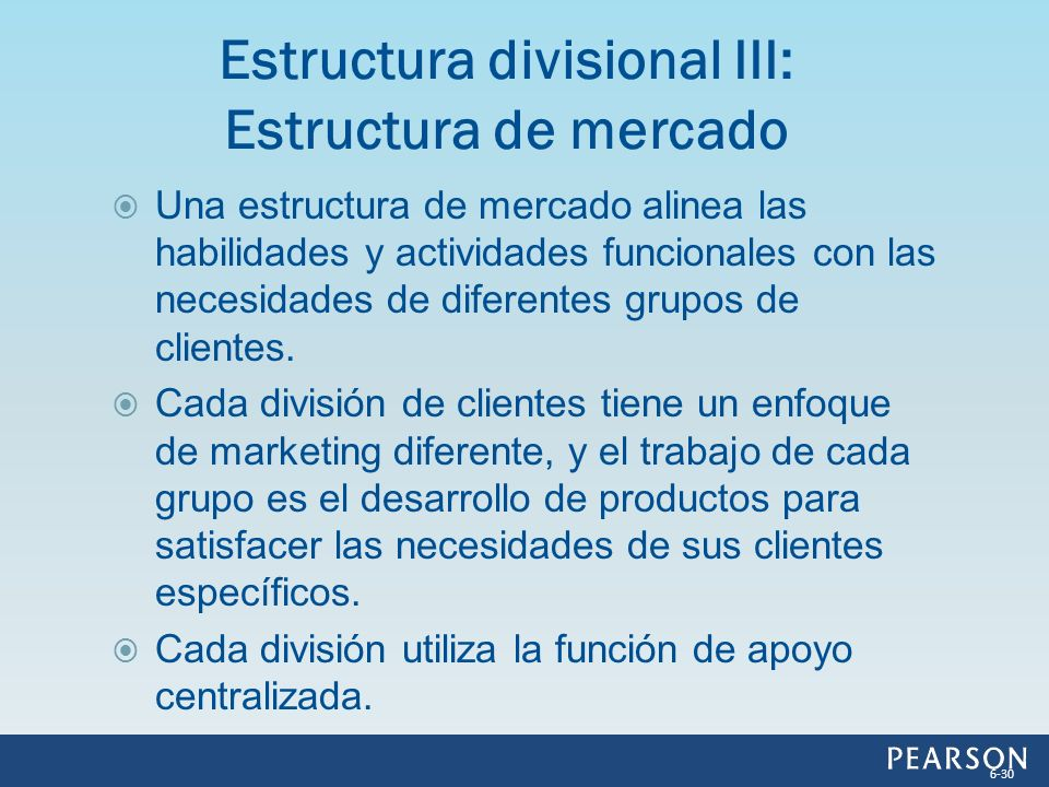 Estructura divisional III: Estructura de mercado