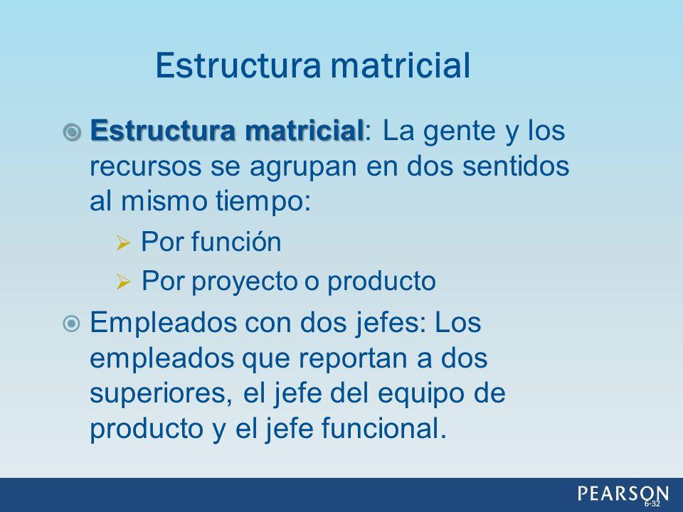 Estructura matricial Estructura matricial: La gente y los recursos se agrupan en dos sentidos al mismo tiempo: