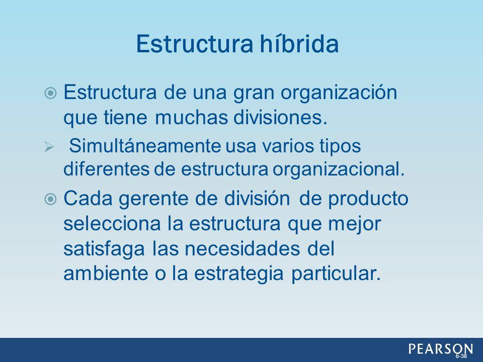 Estructura híbrida Estructura de una gran organización que tiene muchas divisiones.